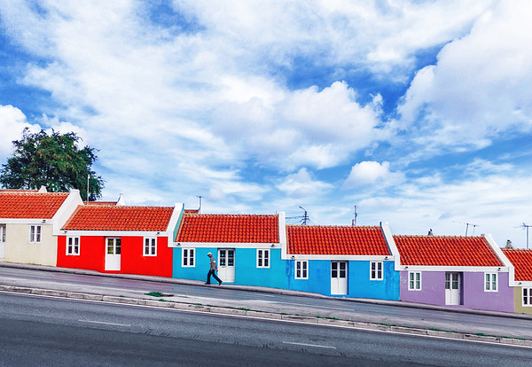 Row of colorful houses in Willemstad, Curaçao.