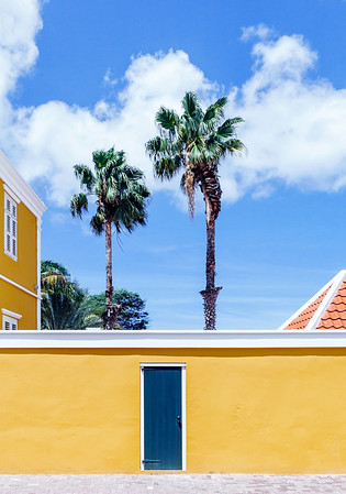 Restored yellow house  in the Pietermaai District in the city of Willemstad in Curacao.