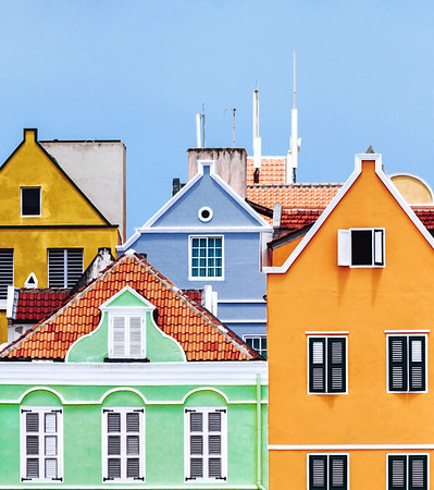 Close up on the colorful buildings located on the famous Handelskade waterfront in Willemstad, Curacao.