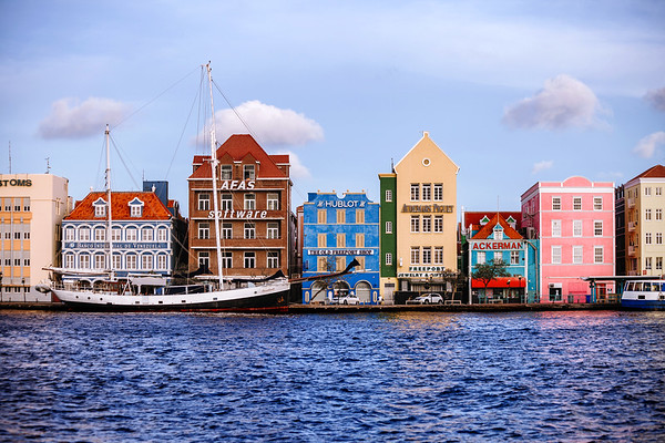 The colorful buildings located on the famous Handelskade waterfront in Willemstad, Curacao.