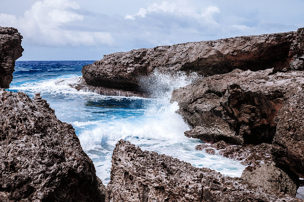 Caribbean Sea at the Boka Tabla at the Shete Boka National Park in Curacao.
