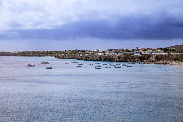 Boats on the Caribbean Sea by Playa Forti in Curacao.