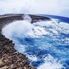 Waves crashing onto the rocky coastline at the Boka Tabla at the Shete Boka National Park in Curacao.