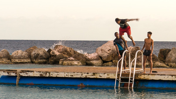 Some of the locals launching from the top shelf! The joys of jumping into the ocean never end!
