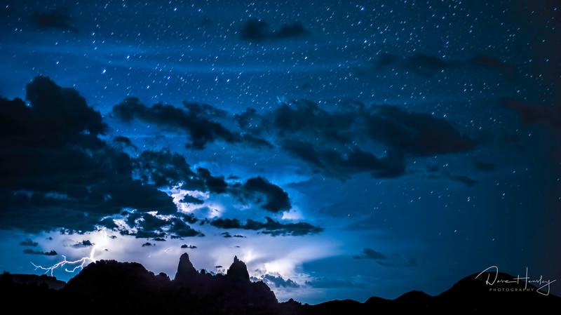 Lightning and Stars over Mule Ears