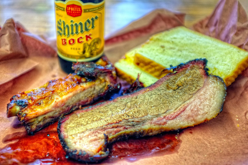 Brisket and rib (and Shiner Bock) from Smitty's Barbecue, Lockhart, Texas