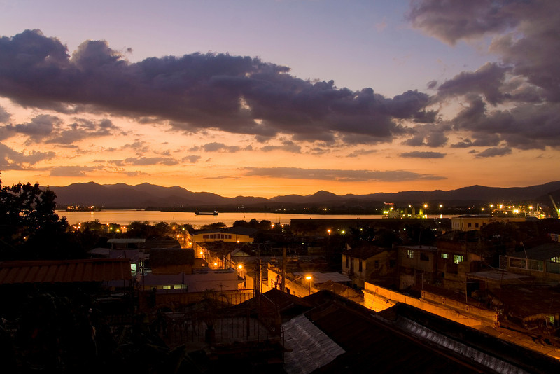 The bay of Santiago de Cuba at dusk.  This is the view I had from my home stay room terrace for thee weeks.