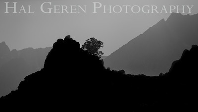 Mountain top Silhouette Near Lone Pine, CA 1710S-S2BW1