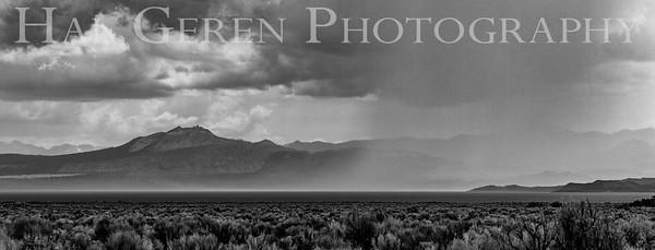 Rain Coming in over the Lake Eastern Sierra, California 1807S-RBW1