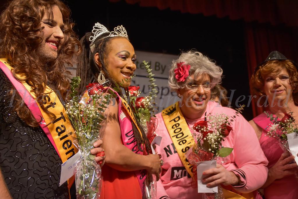 Best Talent winner Burt Horton, Miss SAIH Anthony Jones, People's Choice Rusty Russell and runner-up Scott Tolar.