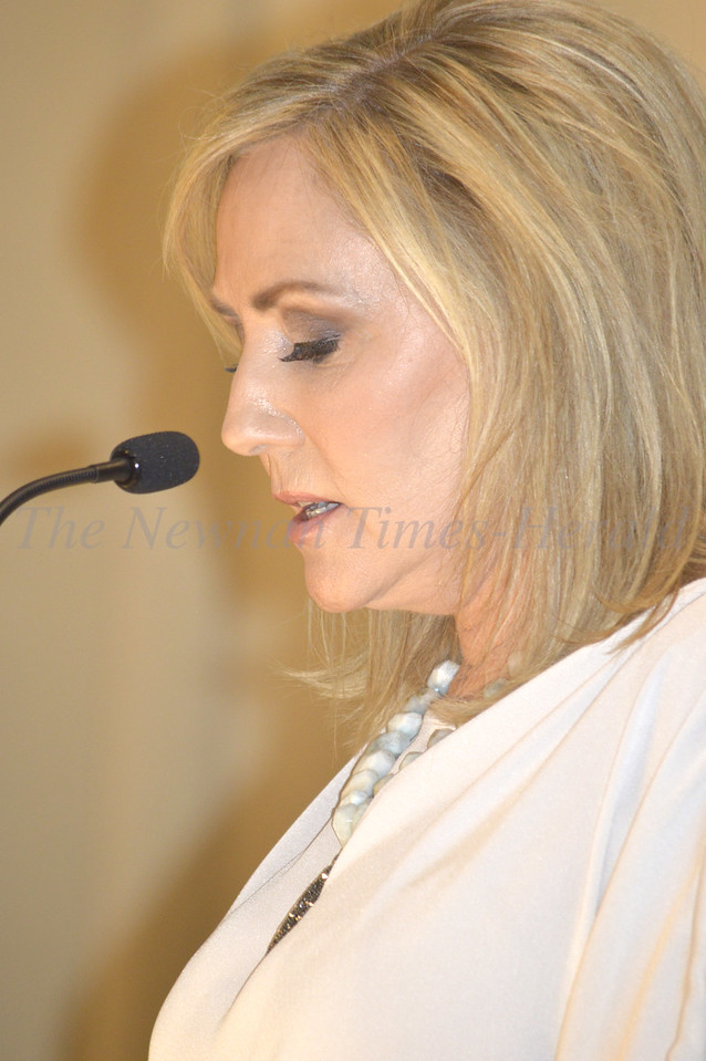 Photo By Maggie Bowers<br /> Denise Jackson, wife of country music star Alan Jackson, offers words as keynote speaker for the evening's event.