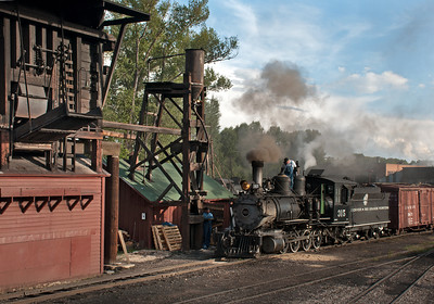 DRGW 315 gets some additional sand before a late afternoon slog up Cumbres with a cut of cars for tomorrows photo freight to Osier.  August 25, 2016.