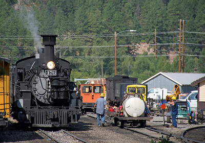 August 24, 2018.  It is busy at Rockwood while the D&S crews get the second train of the day ready to leave.  This during the period when the line was washed out between Rockwood and Hermosa and trains were originating at Rockwood with passengers bussed from Durango.