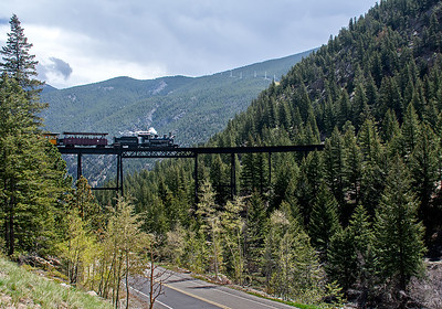 June 4, 2019.  View of the Georgetown Loop high bridge from the parking lot.  The line came up the canyon under the bridge, crossed the creek behind me, and looped back over itself to gan altitude to get to Silver Plume.