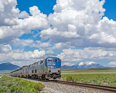 June 6, 2019.   On a beautiful spring day a very late Amtrak 5 passes Shafter on the UP, former WP in western Nevada.