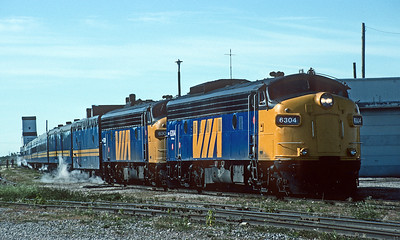September 1992.  The train to Churchill is about ready to depart The Pas.