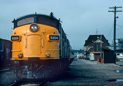September 1992.  Our train stands at the station getting ready to leave Churchill.