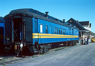 September 1992.  The combine for the Lynn Lake mixed sits in the station at The Pas.