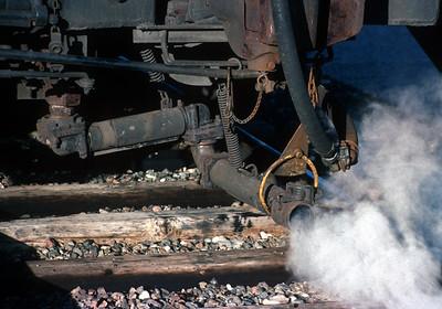September 1992.  Thompson, Manitoba.  The VIA train from Winnipeg to Churchill was the last steam heated passenger train in North America.