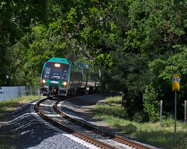 A southbound train through the trees in the Los Ranchitos area of San Rafael.