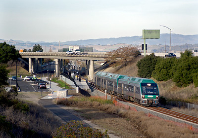 December 1, 2017.  A southbound train accelerates out of the Novato San Marin station.