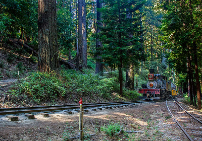 September 5, 2021.  First train of the day approaches the bottom the the switchback.  The track at the lower right is a stub of the old mainline via the burned trestles.  On the hillside you can see the switchback.