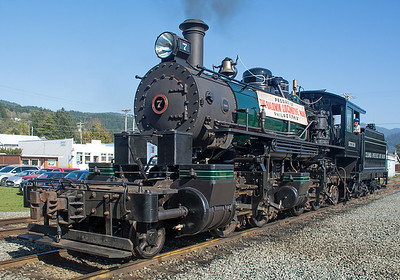The Skookum made a photo debut, but was unable to move very far due to a valve gear issue.  But it was steamed up and proved a nice photo op for an interesting machine.  Many years ago the Skookum overturned while in logging service, was abandoned in place, eventually salvaged in pieces, passed through several owners, pieces were lost, but eventually the resources were invested to put it all back together again.  And soon it will again be hauling trains.  The OCSR shops were working on the engine on a contract basis and it will eventually be headed for an as yet undisclosed location.