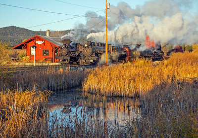 October 13, 2018.  Lots going on at McEwen as the first rays of sun light up the station and two engines.  The early morning fall temps are close to freezing.  Lots of interesting details here.