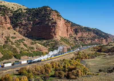 "October 1, 2019.  This was not the shot we all wanted, but it is still a scenic  location and an interesting contrast of the old and new.  The double stack cars certainly tower over ""Big Boy"".  This is the ""traditional"" easy to get view from the westbound freeway rest area on I80 just east of Echo."