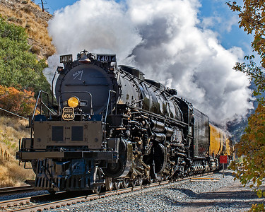 October 1, 2019. 4014 accelerates after passing a red flagged work area approaching Morgan, Utah.