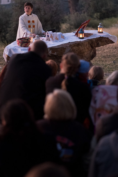 Redeemer Lutheran's English-speaking congregation celebrates Easter 2017 sunrise service on the Mount of Olives. Photo by Ben Gray / ELCJHL