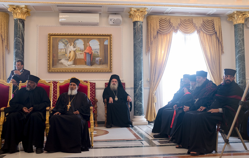 Bishop Munib Younan and a contingent of Protestant clergy attend Easter visits with the Patriarchs of Jerusalem. Photo by Ben Gray / ELCJHL