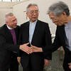 Bishop Dr. Munib Younan, left shakes hands with Archbishop of Tokyo Peter Takeo Okada, right, after shaking hands with Archbishop of Nagasaki Joseph Mitsuaki Takami following a talk on ecumenism and Lutheran-Catholic dialogue at St. Ignatius Catholic Church in Tokyo, Japan on Monday afternoon 24 July, 2017. About 125 people attended the event. Photo by Ben Gray / ELCJHL