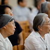 Catholic nuns listen to Bishop Dr. Munib Younan speak on ecumenism and Lutheran-Catholic dialogue at St. Ignatius Catholic Church in Tokyo, Japan on Monday afternoon 24 July, 2017. About 125 people attended the event. Photo by Ben Gray / ELCJHL