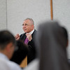 The Bishop Dr. Munib Younan speaks  on ecumenism and Lutheran-Catholic dialogue at St. Ignatius Catholic Church in Tokyo, Japan on Monday afternoon 24 July, 2017. About 125 people attended the event. Photo by Ben Gray / ELCJHL