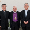 The Bishop Dr. Munib Younan, center, with Rev. Tadahiro Tateyama, president of the Japan Evangelical Lutheran Church, left, and Catholic Archbishop of Nagasaki Joseph Mitsuaki Takami following a talk on ecumenism and Lutheran-Catholic dialogue at St. Ignatius Catholic Church in Tokyo, Japan on Monday afternoon 24 July, 2017. About 125 people attended the event. Photo by Ben Gray / ELCJHL