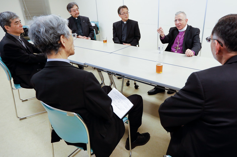 The Bishop Dr. Munib Younan speaks to Japanese Lutheran and Catholic leaders before delivering an address on ecumenism and Lutheran-Catholic dialogue at St. Ignatius Catholic Church in Tokyo, Japan on Monday afternoon 24 July, 2017. About 125 people attended the event. Photo by Ben Gray / ELCJHL