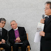 The Bishop Dr. Munib Younan listens as Pr. Naoki Asano translates remarks by Pr. Tadahiro Tateyama, right, before speaking on ecumenism and Lutheran-Catholic dialogue at St. Ignatius Catholic Church in Tokyo, Japan on Monday afternoon 24 July, 2017. About 125 people attended the event. Photo by Ben Gray / ELCJHL