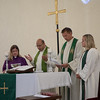 Byåsen Church of Trondheim Norway Partners with Hope Ramallah Church.   Pastors Steinar Leirvik and Camilla Winsnes, Pastor Imad Haddad and Bishop Wilma Kucharek of the Slovak - Zion Synod of the ELCA prepare for the Eucharist. Sunday, September 3, 2017. Adrainne Gray/ELCJHL