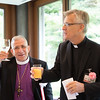 Bishop Dr. Munib Younan raises his glass following a toast by Lutheran World Federation General Secretary Rev. Dr. Martin Junge during the Niwano Peace Prize reception on Thursday morning 27 July, 2017 in Tokyo Japan. Photo by Ben Gray / ELCJHL