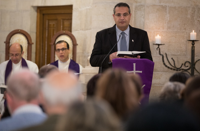 Palm Sunday 2017 service at Christmas Lutheran Church in Bethlehem with Bishop Dr. Munib Younan, Pr. Dr. Mitri Raheb and Assistant Pastor Dr. Munther Isaac. Photo by Ben Gray / ELCJHL