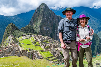 Lennart and Diane at iconic Machu Picchu viewpoint