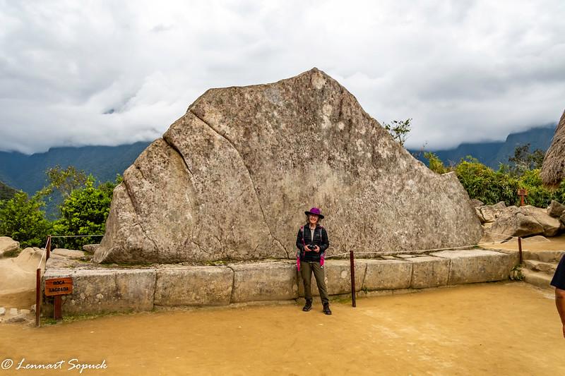 Machu Picchu Sacred Rock depicting nearby mountain peak