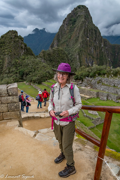 Diane with Huayna Picchu peak in background