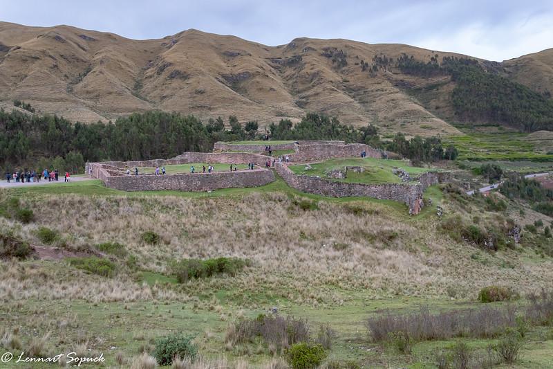 Puca Pucara Inca outpost near Cusco, Inca road in background
