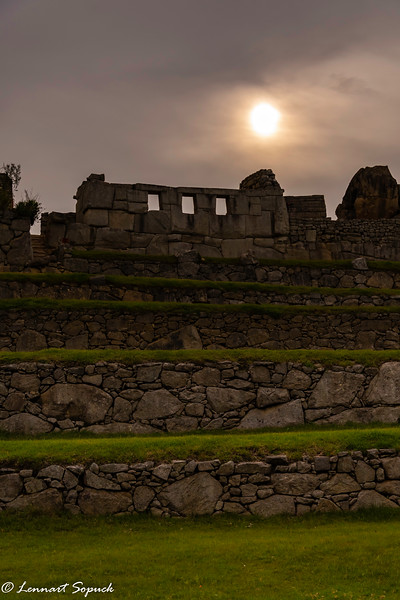 Machu Picchu in late afternoon showing the 3 Incan portals: Heaven, Earth and the Underworld