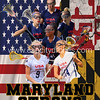United States flag weaving texture with  flag of Maryland on cracked ground, concept of state drought.