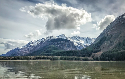 Quiet waters on Pyramid Harbor on the Chilkat Inlet near Haines, Alaska. We are surrounded by seals and sea lions and gulls and eagles, all loving the long awaited start of the hooligan run