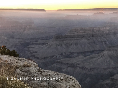 A compromised view; controlled burns on the north rim kept a thick haze in the canyon for several weeks.