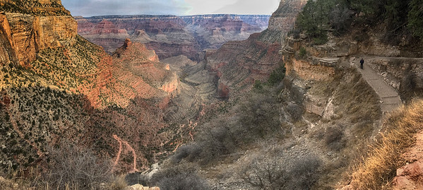 Walking down the Bright Angel Trail the following day. A marvelous opportunity, as the previous two years had seen the south rim blanketed in a picturesque, if inaccessible blanket of snow.